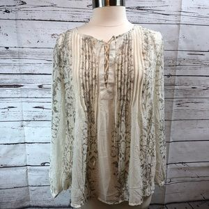 Lucky Brand Peasant style blouse white